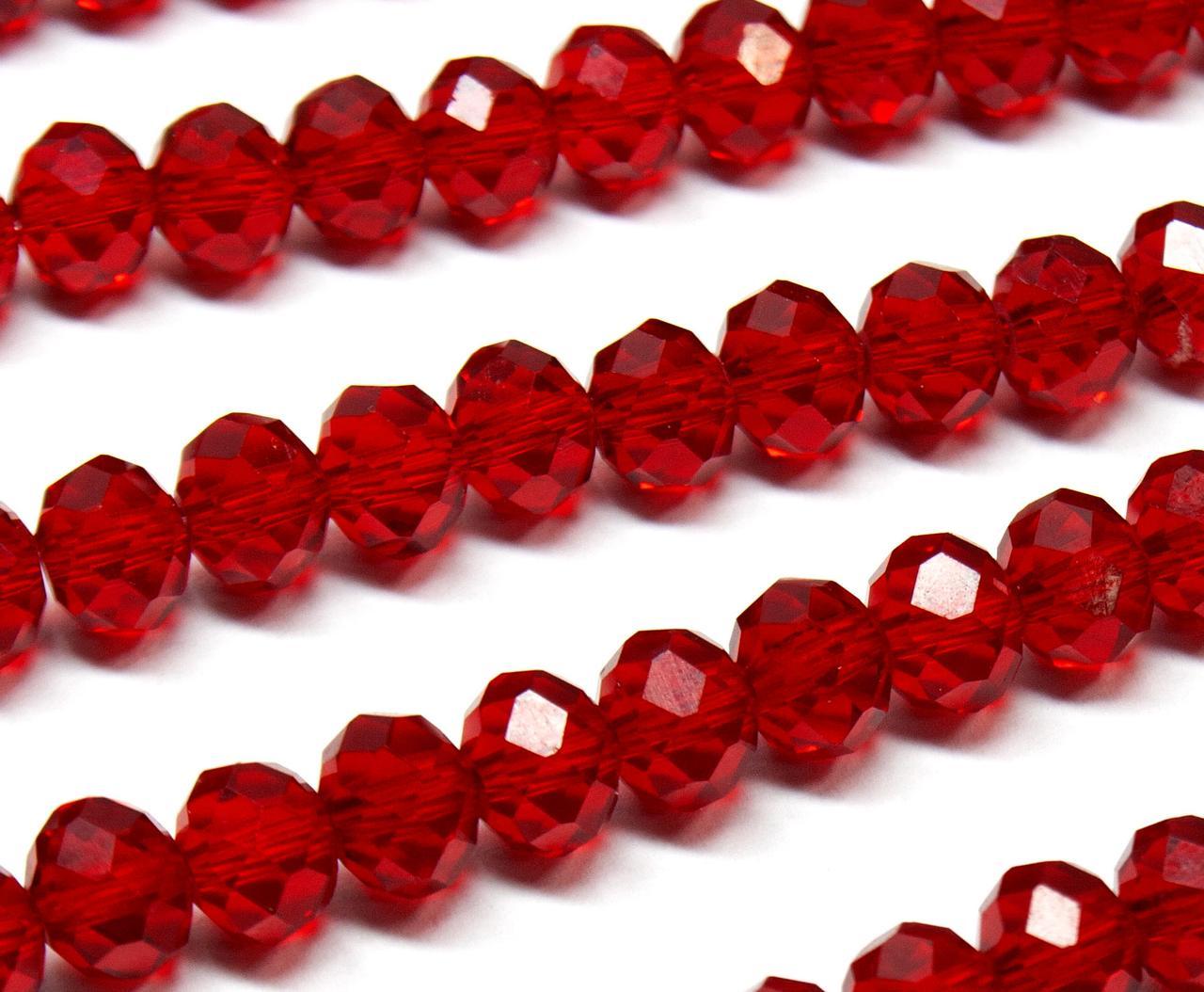 Бусины хрустальные (Рондель) 8х6мм  пачка - примерно 70 шт, цвет -  рубиновый прозрачный