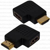 Переходник, штекер HDMI - гнездо HDMI, угловой горизонтальный, gold, пластик
