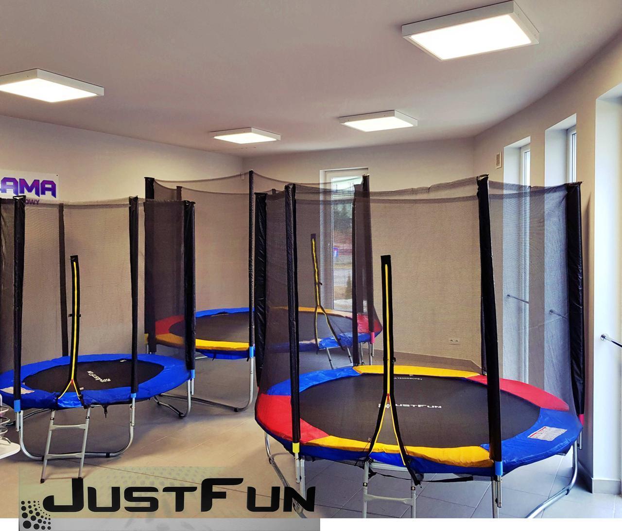 Батут Just Fun 252 см с сеткой и лестницей синий