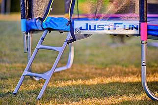 Батут Just Fun 252 см с сеткой и лестницей синий, фото 3
