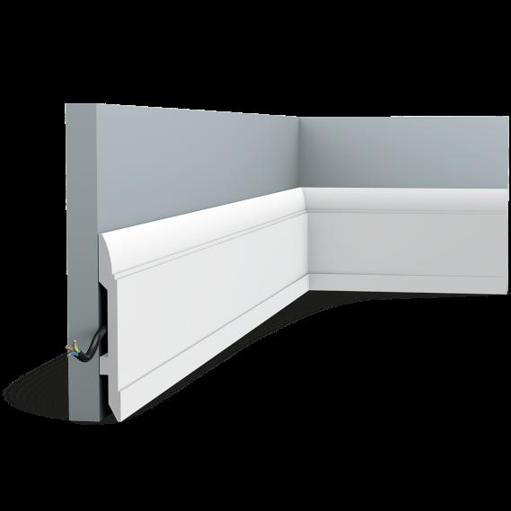 Плинтус напольный Orac Decor Axxent SX104, (14.8x1.7x200 см),лепной декор из дюрополимера.