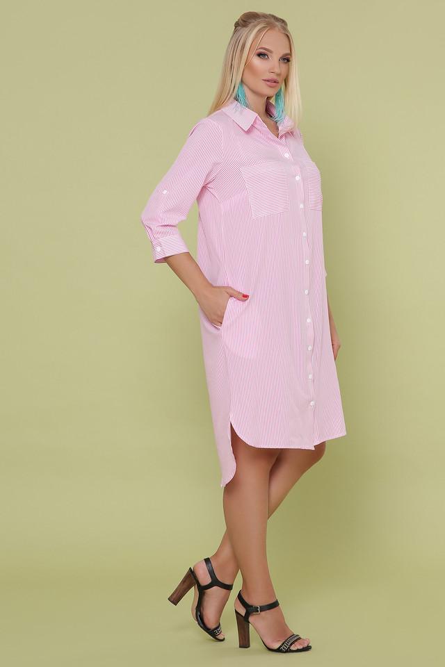 Женское летнее платье-рубашка, розовое в полоску, софт, повседневное, большой размер