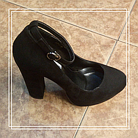 Женские туфли Lino Marano LC7-6 черная замша хомут, маленький стрип, 37