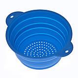 Дуршлаг силиконовый складной большой (D=32,5см, синий), фото 2