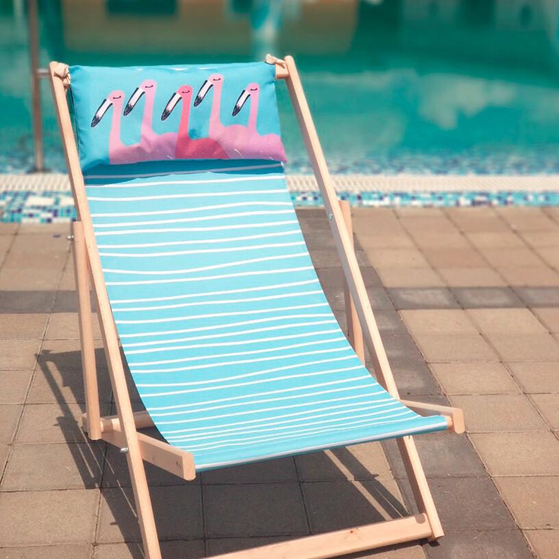 Лежак-шезлонг деревянный для отдыха дачи  Фламинго