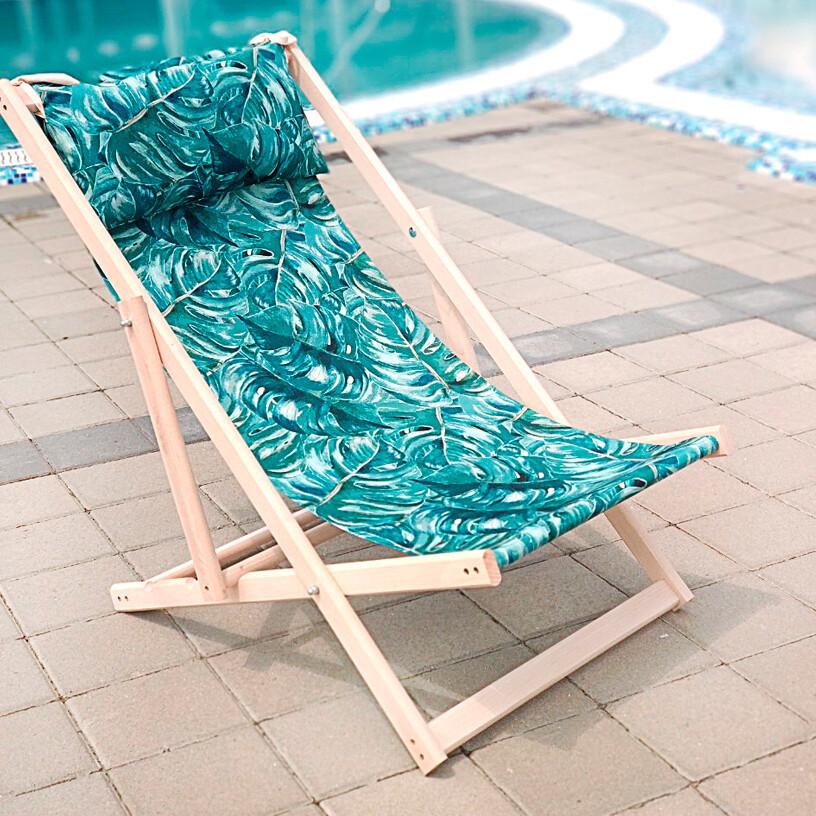 Лежак-шезлонг деревянный для отдыха дачи Листья