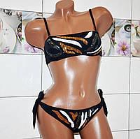 Размер 44! Новинка 2019! Привлекательный черный молодежный купальник бикини, с разноцветными пайетками.