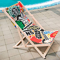 Шезлонг деревянный лежак для дачи или отдыха Стикеры