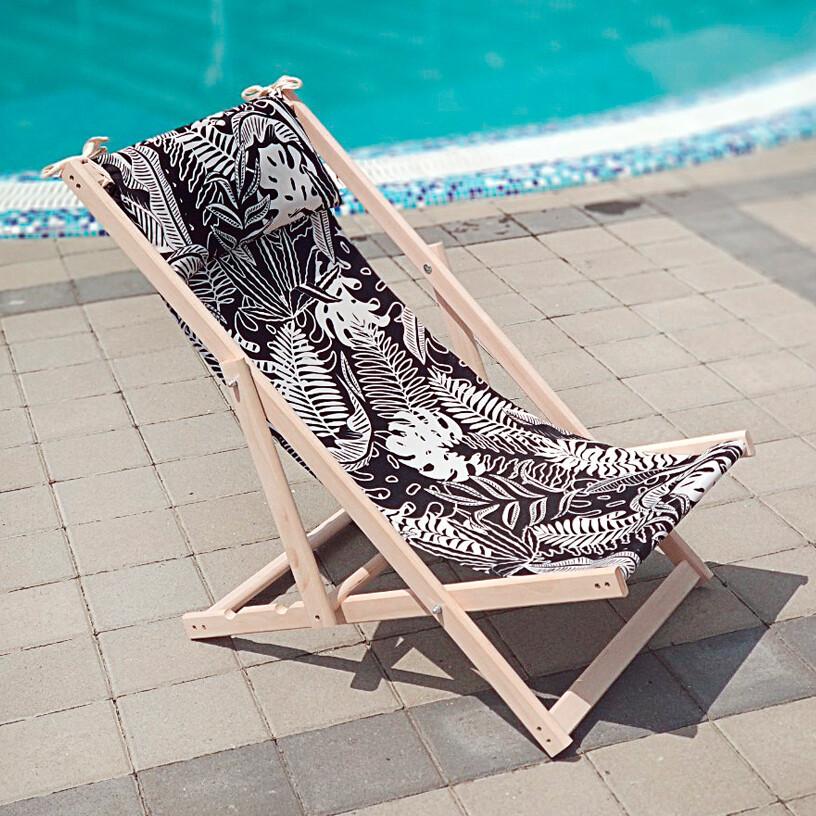 Лежак деревянный шезлонг для дачи или отдыха Ночь в тропиках