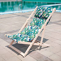 Лежак деревянный шезлонг для дачи или отдыха Кактусы