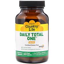 """Мультивітаміни для дорослих Country Life """"Daily Total One Iron-Free"""" без заліза (60 капсул)"""