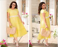 Летнее платье А-силуэта свободного фасона, желтое с 50-60 размер, фото 1