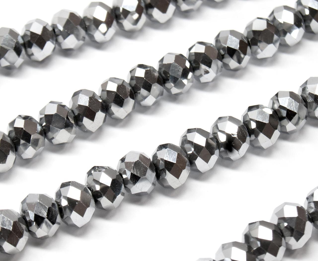 Бусины хрустальные (Рондель) 8х6мм  пачка - примерно 70 шт, цвет -  серебряное напыление
