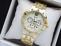 Женские кварцевые наручные часы Guess золотого цвета, серебристый циферблат, хронографы, дата, фото 1