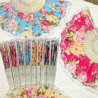 Веер Тканевый с бабочками цветами Бабочки Опахало Пластик 6 цветов 008631