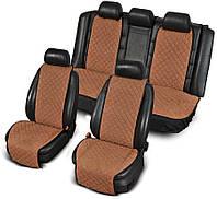 Накидки на сиденья из АЛЬКАНТАРЫ (искусственной замши) светло-коричневые широкие комплект