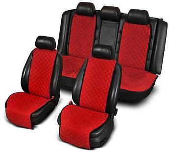 Накидки на сиденья из АЛЬКАНТАРЫ (искусственной замши) красные широкие комплект