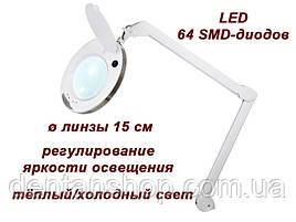 Лампа-лупа косметологическая мод. 6014 LED CCT (3D ) с регулировкой яркости света, со струбциной в комплекте