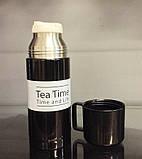 Термос TEA TIME 350 мл. (Черный с белой полосой), фото 5
