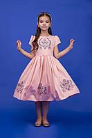 Платье детское персиковое с вышивкой Обериг by Piccolo L