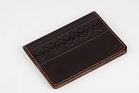 """Коричневая обложка для паспорта, обложка из натуральной кожи с тиснением """"Фолк"""", фото 1"""