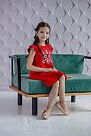 Платье красное с вышивкой гладью Обериг Piccolo L