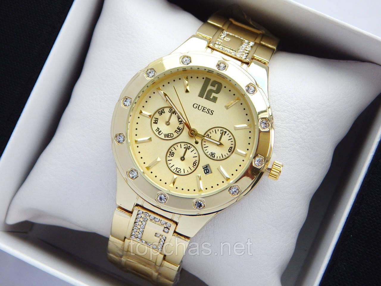 Женские кварцевые наручные часы Guess золотого цвета, хронографы, дата, фото 1
