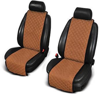 Накидки на передние сиденья из АЛЬКАНТАРЫ (искусственной замши) светло-коричневые узкие
