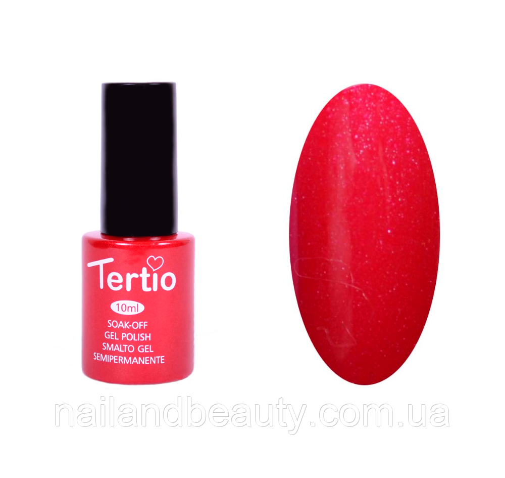 Гель-лак Tertio Красно-розовый с микроблеском №156 10 мл