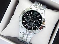 Женские кварцевые наручные часы Guess серебристого цвета с черным циферблатом, хронографы, дата, фото 1
