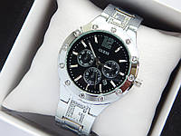 Жіночі кварцові наручні годинники Guess сріблястого кольору з чорним циферблатом, хронографи, дата, фото 1