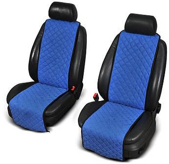 Накидки на передние сиденья из АЛЬКАНТАРЫ (искусственной замши) синие узкие