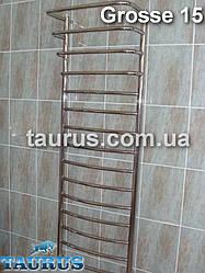 Громадный полотенцесушитель Grosse 15+4/ 1550x500 н/ж сталь с выступающими перекладинами: под воду и ТЭН
