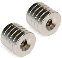 Магниты неодимовые крепежные 20x4.5мм N50 с отверстием зенковкой 5мм 10шт