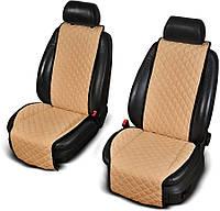 Накидки на передние сиденья из АЛЬКАНТАРЫ (искусственной замши) бежевые широкие