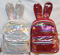 Женские маленькие блестящие рюкзаки с ушками 16*20 см (серебро и бордо)