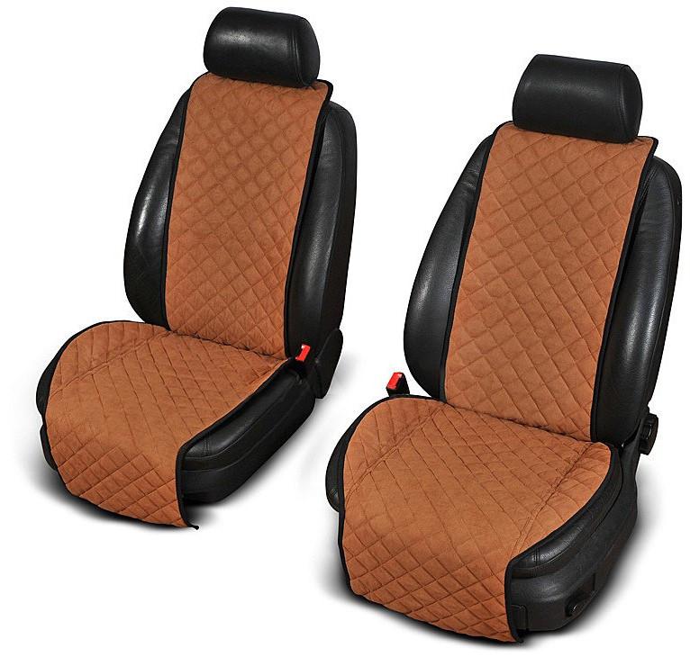 Накидки на передние сиденья из АЛЬКАНТАРЫ (искусственной замши) светло-коричневые широкие