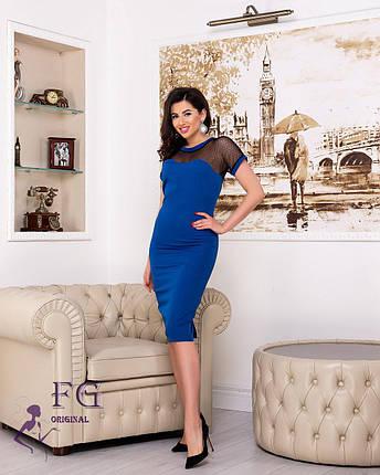 Модное платье миди приталенное с коротким рукавом электрик, фото 2