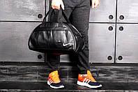 Спортивна сумка з еко шкіри стильна модна містка Nike, колір чорний (логотип білий), фото 1