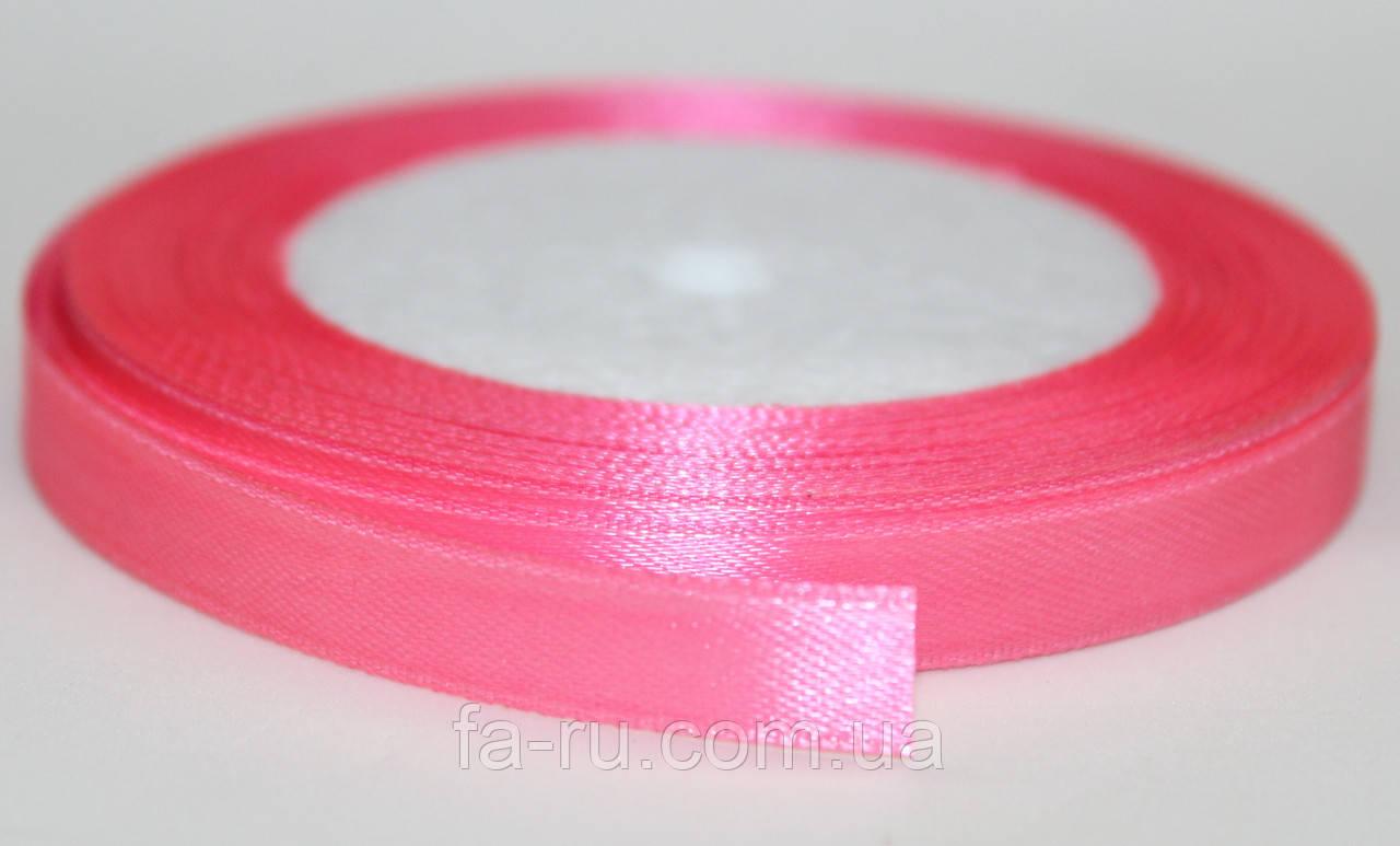 Лента атласная. Цвет - розовый фламинго, ширина - 1см, длина - 23м