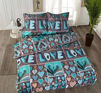 Комплект двуспальной постели с сердечками