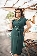 Платье женское повседневное на запах пуговицу Большого размера