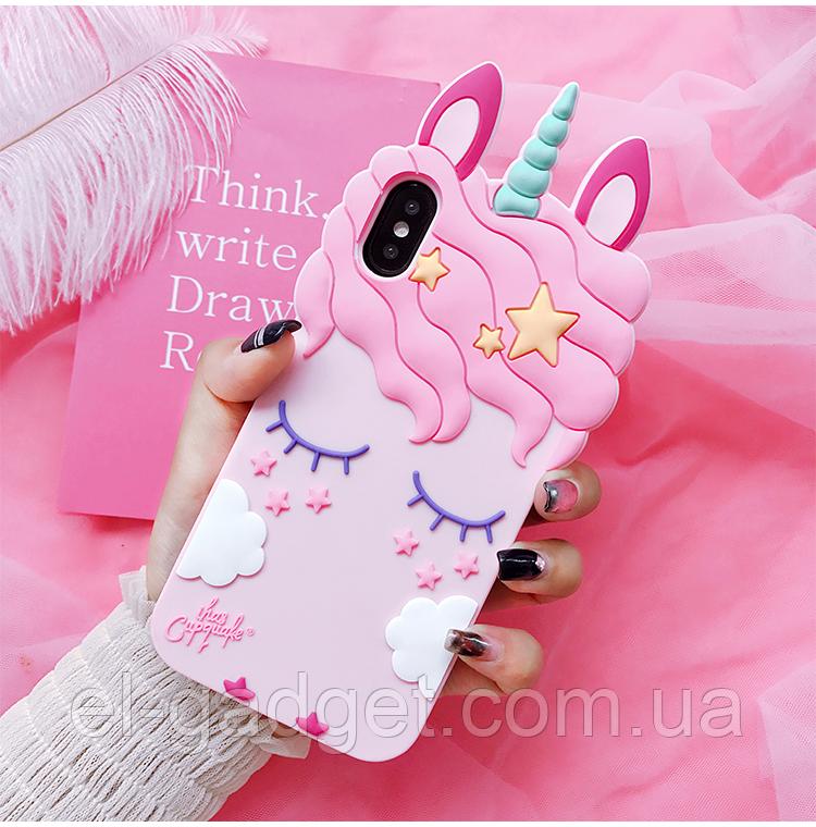 Чехол на iPhone ХS MAX Единорог розовый
