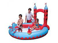 Детский надувной игровой центр BestWay 53037 Замок Дракона, душ, 221-193-150см,