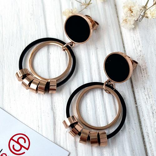 Красивые серьги гвоздики-кольца из стали 3 см 165232