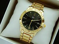 Кварцевые наручные часы Tommy Hilfiger золотого цвета, черный циферблат, календарь