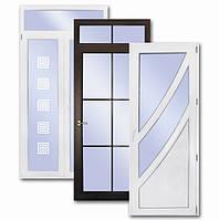 Пластиковые двери со стеклом