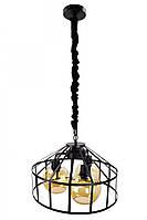 Люстра потолочная подвесная в стиле Loft (лофт) (35х43х43 см.) Черный YR-11508/3