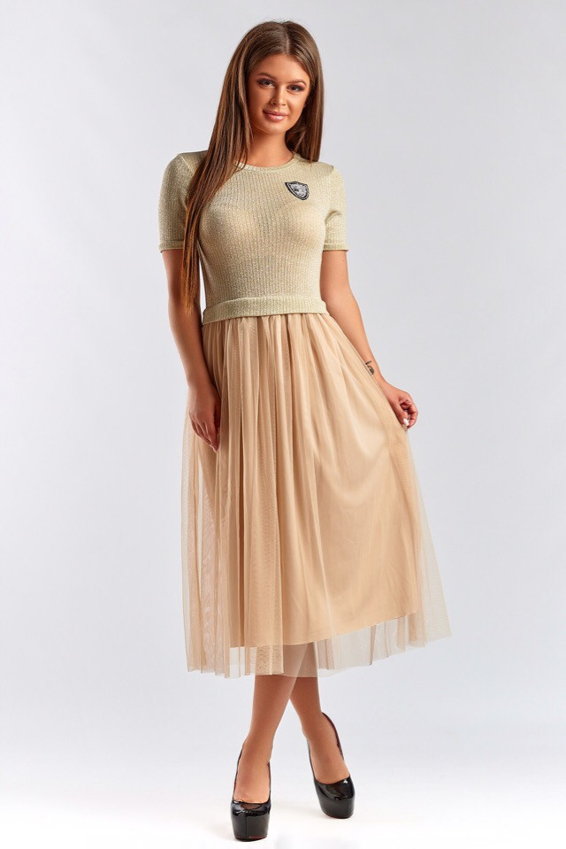 Платье женское длинное с пышной юбкой из сетки (К28179)