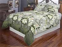Двоспальний комплект постільної білизни з натуральної тканини з білими квітами